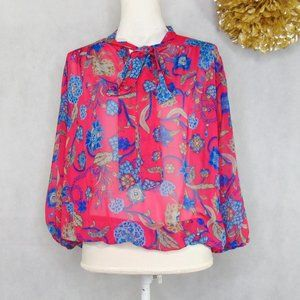 Sweet Pea NY&Co. Pink Floral Blouse Top Bubble Hem